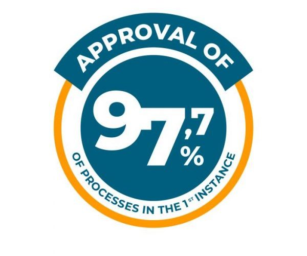 Approval of 97,7% of processes in the 1ª instance